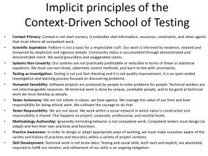 Implicit Principles of CDT - Slide from James Bach's Keynote at Let's Test Oz 2014
