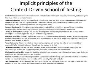 Implicit Principles of CDT - Slide from James Bach's Keynote at Let's Test Oz 2014